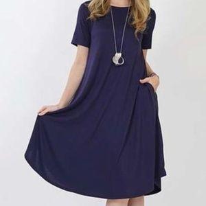 Dresses & Skirts - Ladies Women Navy Stretchy Pocket Dress 1X 2X 3X